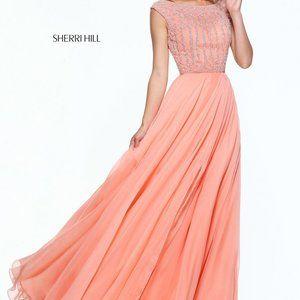 Sherri Hill 50929 SZ 6 Peach Prom Dress